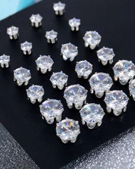 12 Pairs of Crystal Rhinestone Stud Earrings