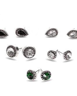5 Pairs of Crystal Rhinestone and Onyx Stud Earrings