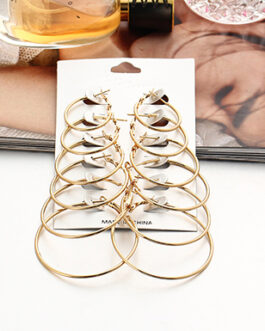 6 Pair Set of Simple Gold Hoops in Graduating Sizes
