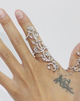 Adjustable Finger and Thumb Crystal Leaf Rings