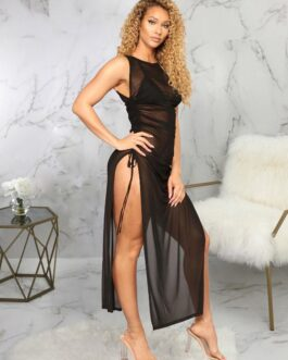 Alluring Gauze Drawstring Slit Maxi Dress