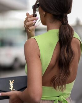 Backless Crew Neck Knitting Tank Top