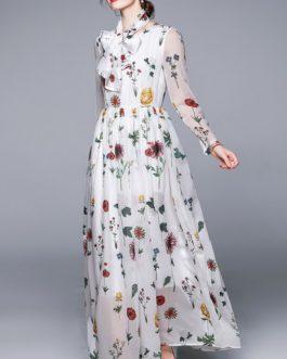 Bohemian Foral Printed Chiffon Maxi Dress O Neck Long Sleeve Beach Boho Dress