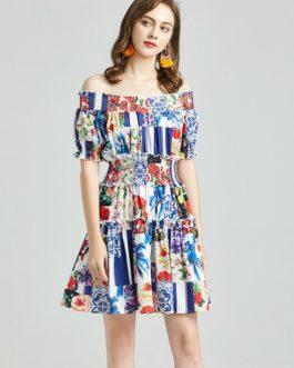 Boho Beach Floral Printed Dress Elastic Waist Slash Neck Ruffles Short Dress