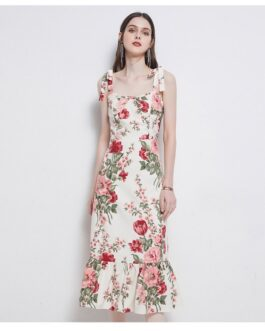 Bow Tie Print Floral Dress Sexy Strapless Backless High-Waist Ruffles Dress