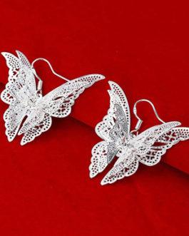 Butterfly Dangle Hook Earrings 925 Sterling Silver