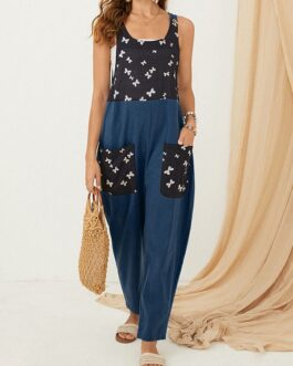 Butterfly Print Patchwork Pocket Front Button Strap Casual Jumpsuit
