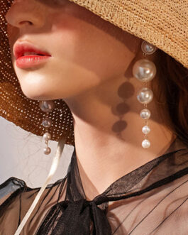 Cascading Dangling Pearl Style Earrings Gold Trim