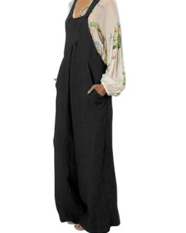 Casual Flared Wide Leg Overall Jumpsuits
