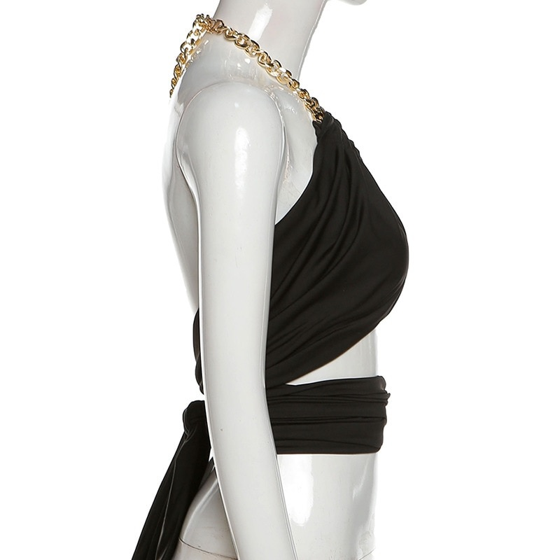 Chain Halter Neck Hollow Out Sexy Crop Tops 13