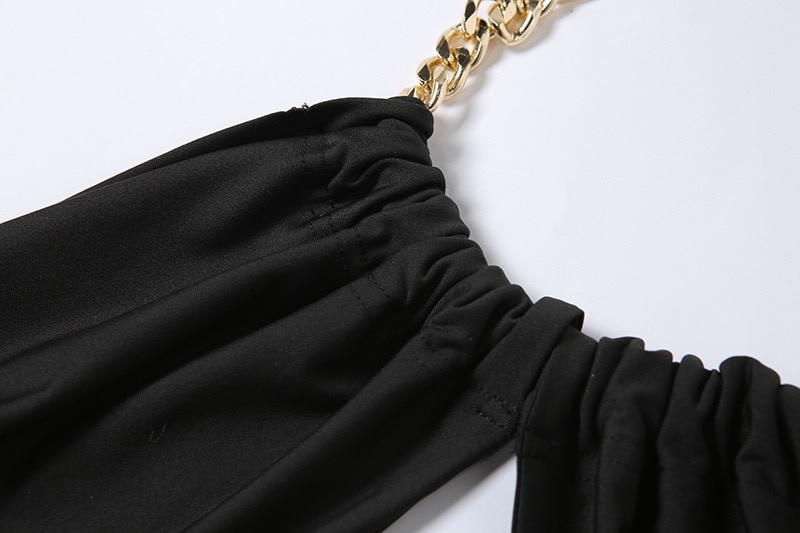 Chain Halter Neck Hollow Out Sexy Crop Tops 3