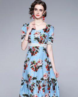 Cherry Flower Print Puff Short Sleeve Dress High Waist Lace Midi Vestidos