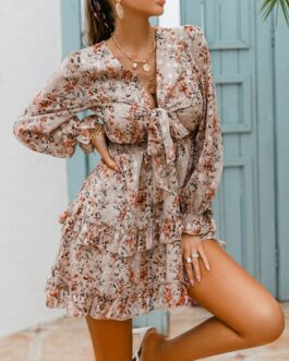 Chic V Neck Floral Long Sleeve Dress