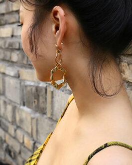 Crinkled Double Circle Dangle Earrings