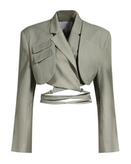 Double Layer Bandage Slim Pocket Blazer