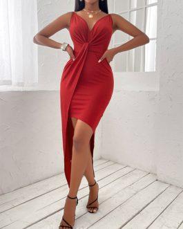 Elegant Asymmetrical Hem Solid Pleated Sleeveless Maxi Dress