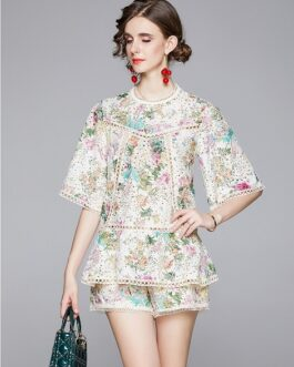 Elegant Embroidery Lace Hollow Out Shirt Top + Wide Leg Shorts Two Pieces Set