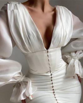 Elegant Lantern Sleeve deep V Neck Bodycon Partywear