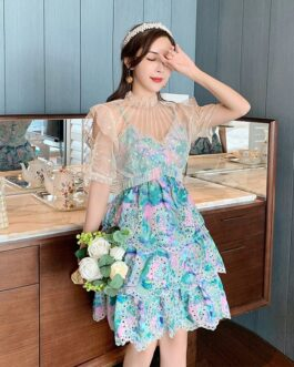 Elegant Patchwork Lace Mesh Embroidery Dress 2021 Lotus Leaf Sleeve Sexy Hollow Out Layer Tiered Mini Dress