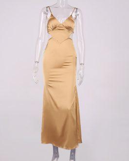 Elegant Satin Spaghetti Strap Bandage Skinny Beach Dress