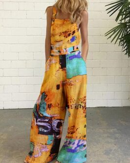 Ethnic Print Straps Wide Leg Pockets Jumpsuit