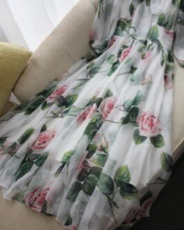 Fashion Party Dress Lantern Sleeve Floral Print Bodycon Midi Dresses Vestidos
