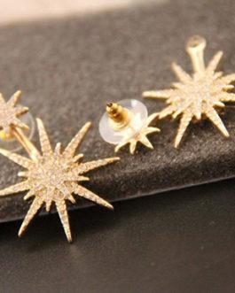 Fashion Snowflake Crystal Fission Stud Earring
