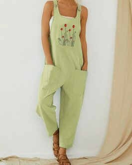 Flower Embroidered Straps Casual Jumpsuit