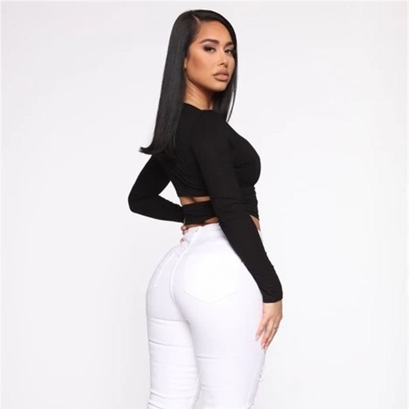 Hollow Out Bandage Long Sleeve O Neck Crop Top 1