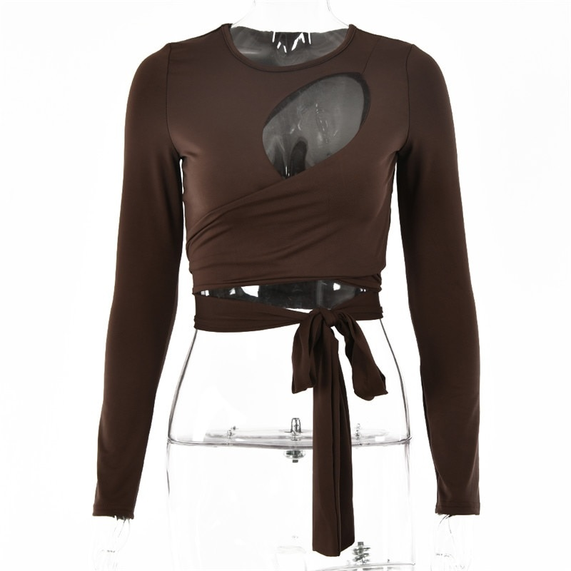 Hollow Out Bandage Long Sleeve O Neck Crop Top 14