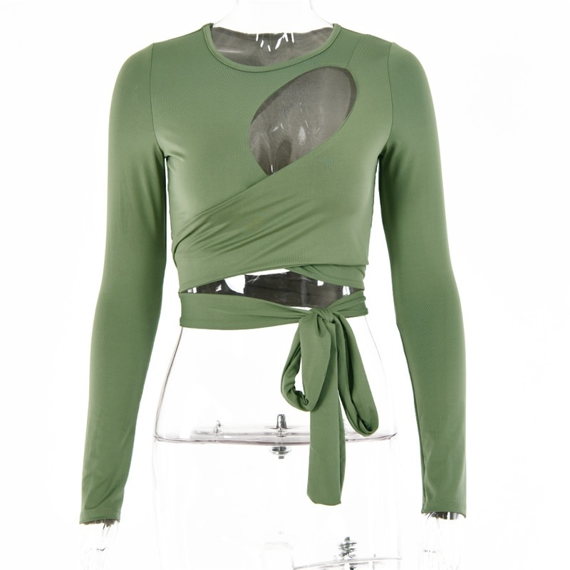 Hollow Out Bandage Long Sleeve O Neck Crop Top 15