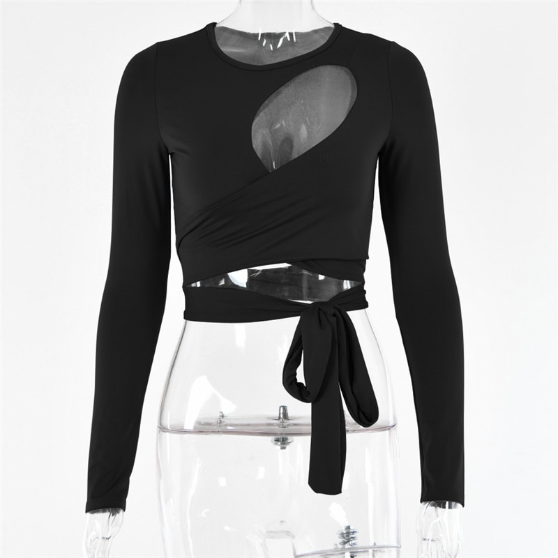 Hollow Out Bandage Long Sleeve O Neck Crop Top 16