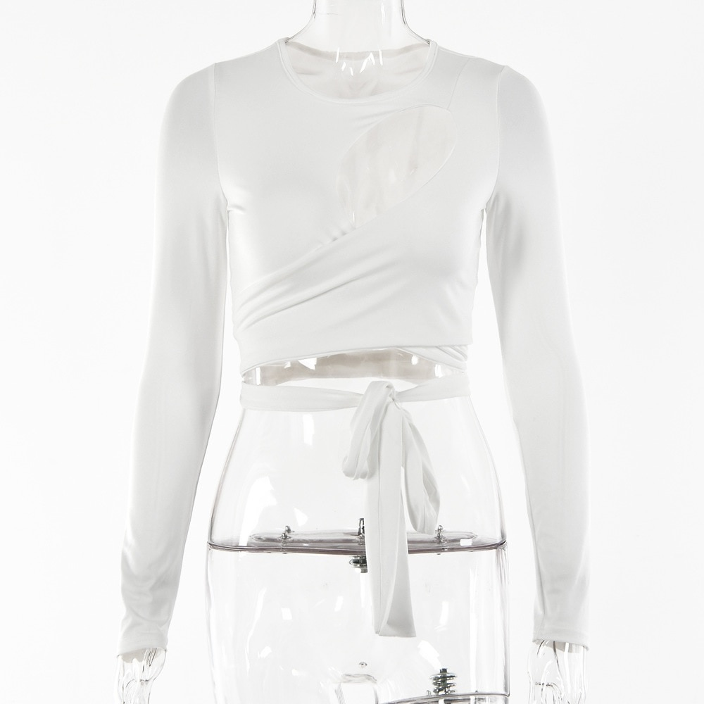 Hollow Out Bandage Long Sleeve O Neck Crop Top 2