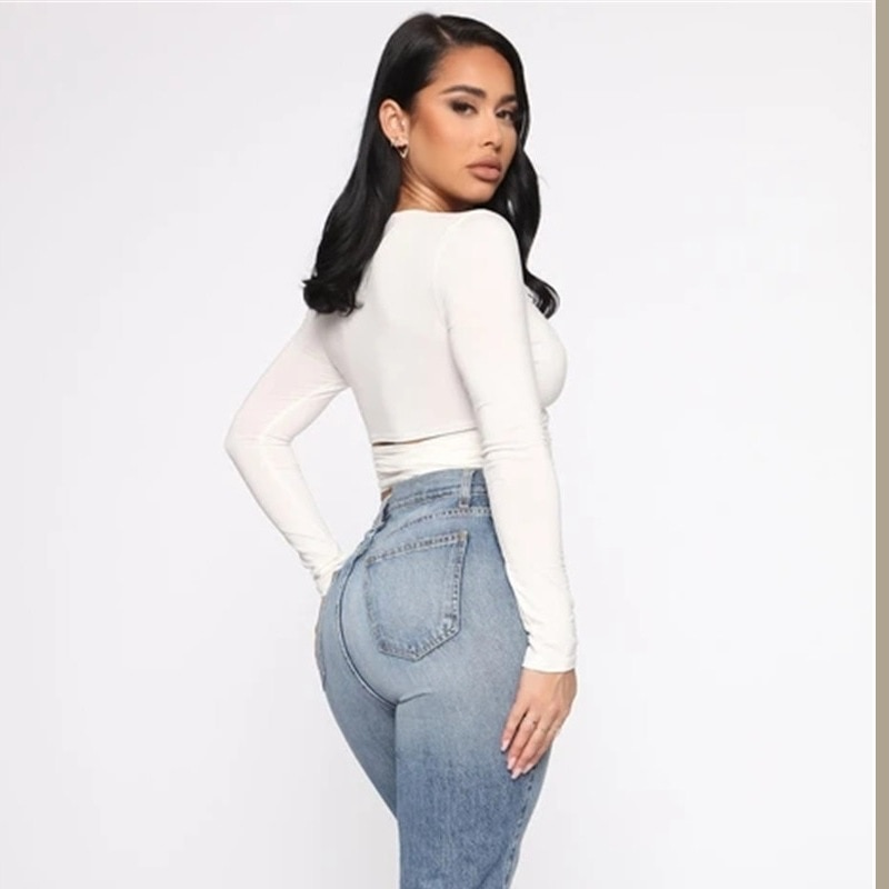Hollow Out Bandage Long Sleeve O Neck Crop Top 25