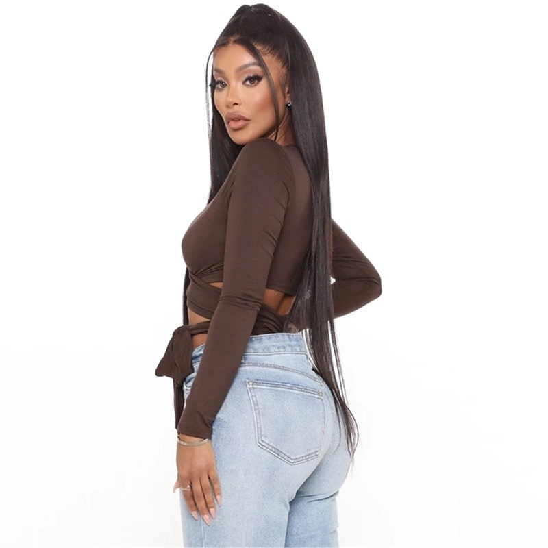 Hollow Out Bandage Long Sleeve O Neck Crop Top 26