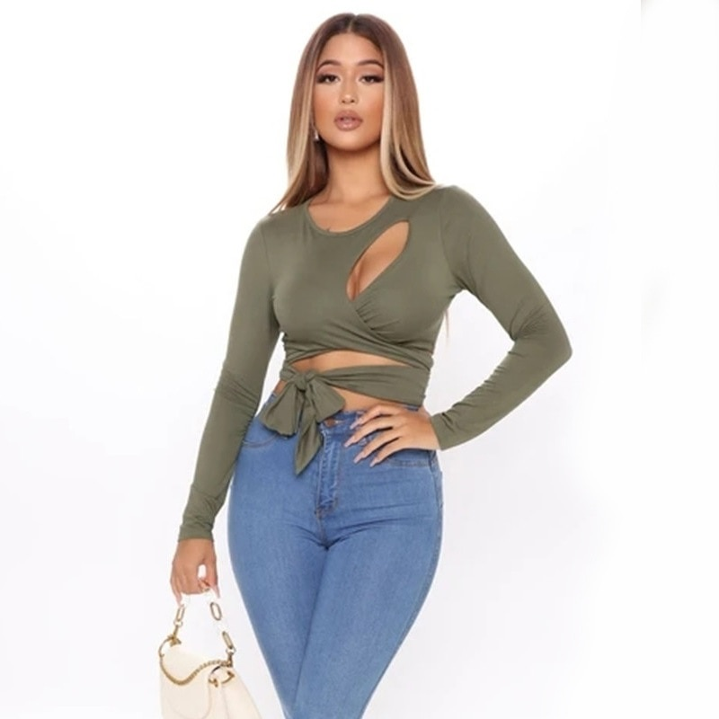 Hollow Out Bandage Long Sleeve O Neck Crop Top 27