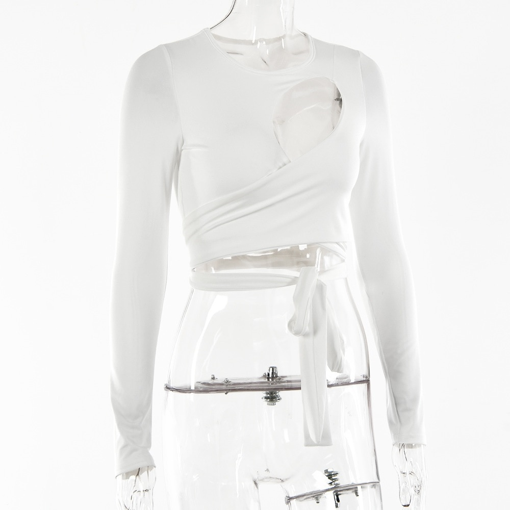 Hollow Out Bandage Long Sleeve O Neck Crop Top 3