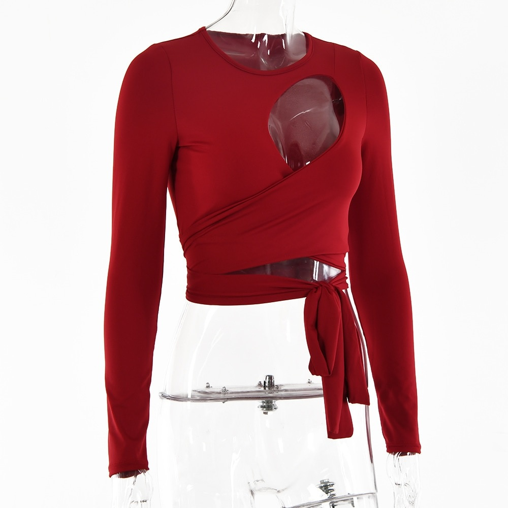 Hollow Out Bandage Long Sleeve O Neck Crop Top 6