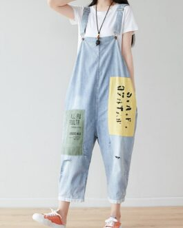 Letters Patchwork Casual Hole Personality Jumpsuits