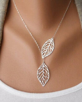 Open Design Two Leaf Chain Necklace