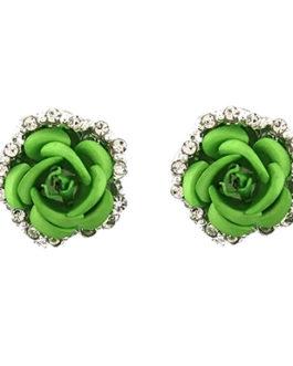 Rhinestone Stud Earring Rose Shaped