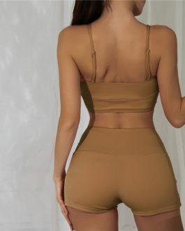 Rib Front Shorts Bikini Swimsuit Wireless Bra and Shorts Beach Bikinis Set