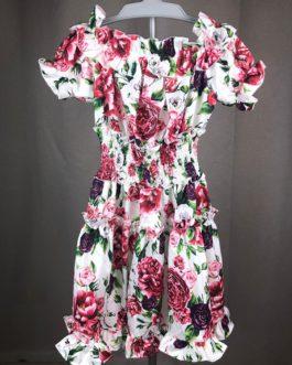 Rose Flower Print Beach Party Short Dress