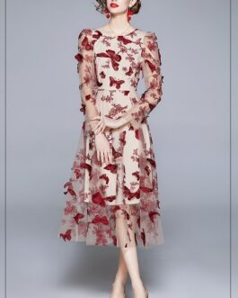 Runway Butterfly Floral Embroidered Dress Fashion Mesh Puff Sleeve O Neck Perspective Princess Elegant Long Dresses