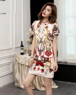 Runway Fashion Butterfly Sleeve Bow Beading Printed Appliques Elegant Vintage Party Mini Dresses