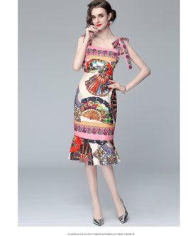 Sexy Bow Tie Spaghetti Strap Beach Boho Midi Mermaid Dress Flower Printed Backless Ruffles Holiday Party Dress