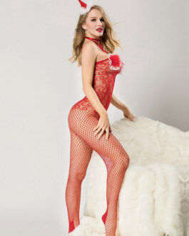 Sexy Christmas Costumes Lace Net Sheer Jumpsuit