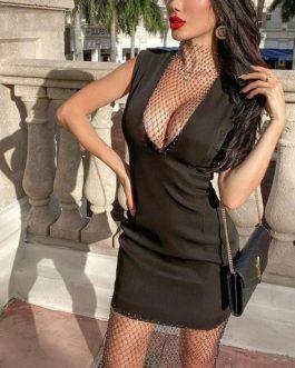 Sexy Crystal Diamond Patchwork Club Partywear Dress