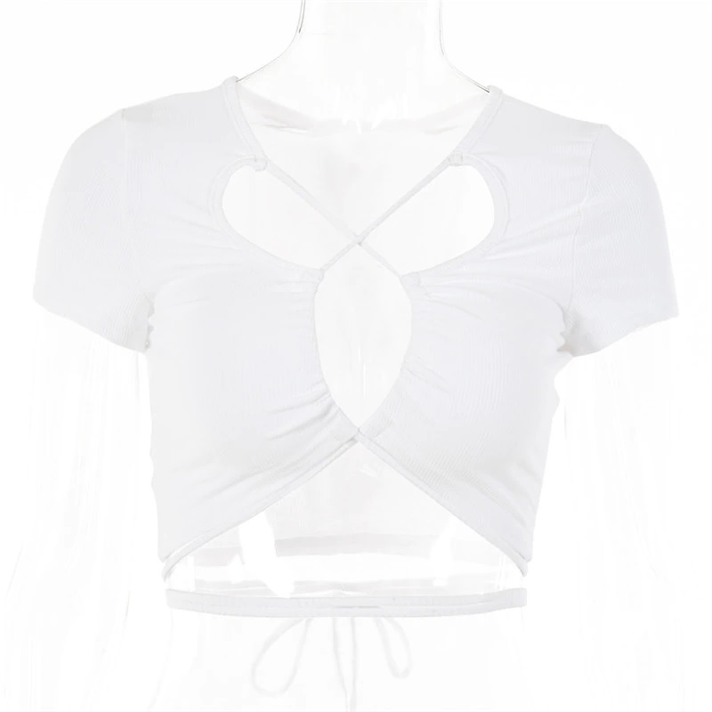 Sexy Hollow Out Bandage Rib Knitted Crop Tops 12