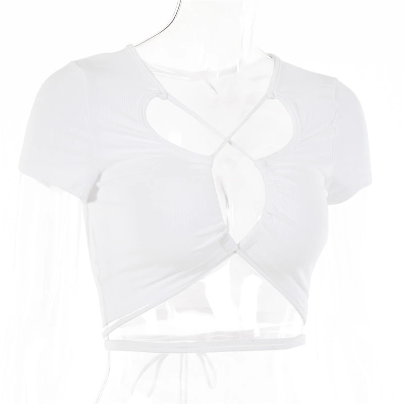 Sexy Hollow Out Bandage Rib Knitted Crop Tops 13